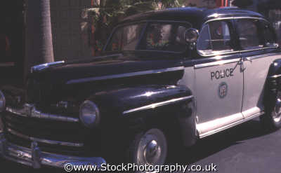typical american police car 1950 emergency services yankee travel cops robbers movie florida usa united states america