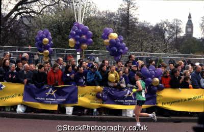 runner crowd purple balloons big ben far london marathon running jogging athletic events capital england english uk westminster cockney angleterre inghilterra inglaterra united kingdom british