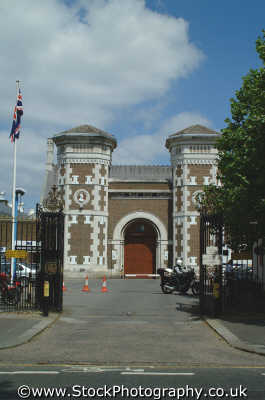 wormwood scrubs entrance uk prisons penal detention british architecture architectural buildings bars capture incarcerate sentence trap crime punishment hammersmith fulham london cockney england english angleterre inghilterra inglaterra united kingdom