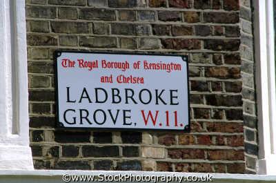 ladbroke grove road sign street signs famous streets london capital england english uk notting hill kensington chelsea cockney angleterre inghilterra inglaterra united kingdom british