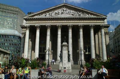 royal exchange frontage city london famous sights capital england english uk money greed power stock market business cockney angleterre inghilterra inglaterra united kingdom british
