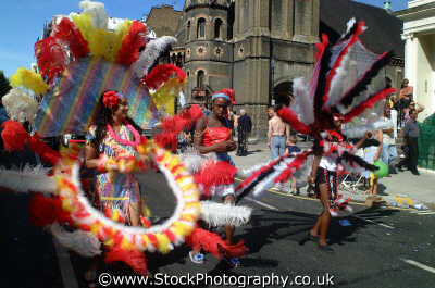 girls costumes notting hill carnival london events capital england english uk black culture street colour color parade celebrate afro carribean party kensington chelsea cockney angleterre inghilterra inglaterra united kingdom british