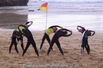 lifeguard aerobics rnli coastguard lifeboat rescue uk emergency services safety baywatch bend exercise newquay cornish cornwall england english angleterre inghilterra inglaterra united kingdom british