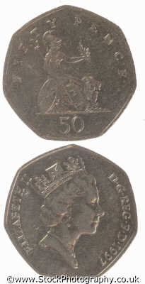 50 pence coin old style money coins currency monetary wealth abstracts misc. fifty