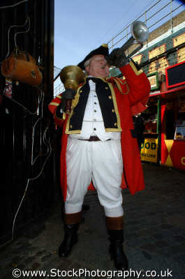 town crier blowing trumpet costumes costumed people persons bugle announce bell costume fat blow noisey camden london cockney england english angleterre inghilterra inglaterra united kingdom british