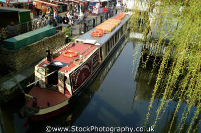 canal houseboat camden lock waterways famous sights london capital england english uk moored mooring moorings bank cockney angleterre inghilterra inglaterra united kingdom british