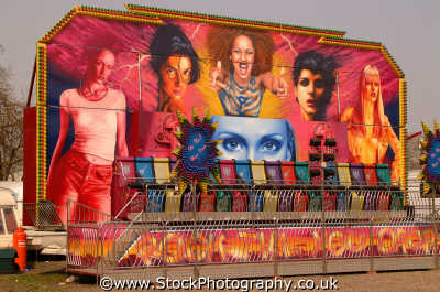 fairground art rock till drop ride carnival fairs leisure uk spice girls girlpower mural lambeth london cockney england english angleterre inghilterra inglaterra united kingdom british