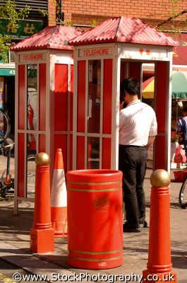 chinese telephone boxes gerrard st w1 soho seedy nightlife famous sights london capital england english uk phoning westminster cockney angleterre inghilterra inglaterra united kingdom british