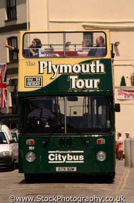 plymouth tour bus south west england southwest country english uk tourists sightseeing devon devonian angleterre inghilterra inglaterra united kingdom british