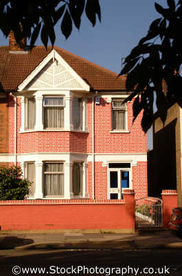 1930 bedroom house pink painted brickwork semi detatched homes british housing houses dwellings abode architecture architectural buildings uk kingston london cockney england english angleterre inghilterra inglaterra united kingdom