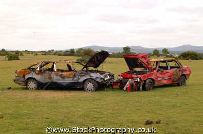 burnt cars dartmoor moorland countryside rural environmental uk auto theft devon devonian england english angleterre inghilterra inglaterra united kingdom british