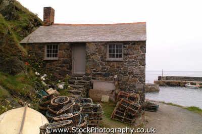 mullion cove stone cottage south west england southwest country english uk lobster pots cornwall cornish angleterre inghilterra inglaterra united kingdom british