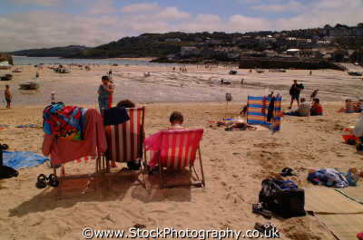 st ives deckchairs south west england southwest country english uk sea seashore waterfront bathing sands strand cornish cornwall angleterre inghilterra inglaterra united kingdom british