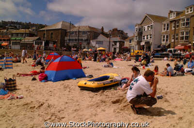 st ives beach scene british beaches coastal coastline shoreline uk environmental sea seashore waterfront bathing sands strand cornish cornwall england english angleterre inghilterra inglaterra united kingdom