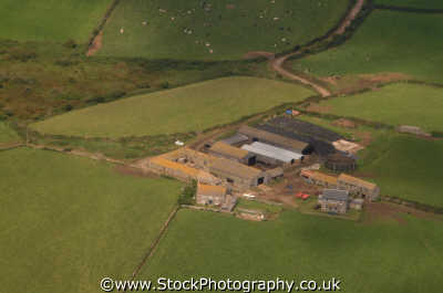 farm outbuildings aerial shot south west england southwest country english uk fields agriculture cornwall cornish angleterre inghilterra inglaterra united kingdom british