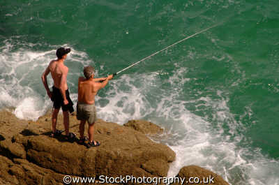 sea anglers rock sports sporting uk fishing cornwall cornish england english angleterre inghilterra inglaterra united kingdom british