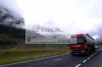 lorry highland road mist rolling mountains transport transportation uk freight highlands islands scotland scottish scotch scots escocia schottland united kingdom british