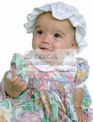 baby girl floral dress bonnet females feminine womanlike womanly womanish effeminate ladylike people persons white caucasian portraits
