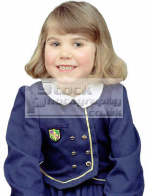 girl age school uniform false smile girls female children kids juveniles infants females feminine womanlike womanly womanish effeminate ladylike people persons cheeky white caucasian portraits
