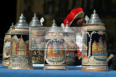 beer mugs frankfurt hesse german deutschland european travel main bavaria bayern germany europe germanic