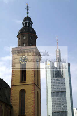 old new skyscraper church frankfurt hesse german deutschland european travel main bavaria bayern germany europe germanic