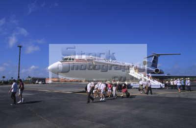 passengers disembarking tupolev tu-154 tu 154 tu154 b-2 b 2 b2 aircraft cubana airlines ciego avila cuba. range 5000km speed 900 km/h km h kmh capacity 156 passengers. flying transport transportation uk phillipines pacific oceanic sea oceans cuba cuban