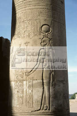 carving goddess isis column temple sobek sebek sebekh kom ombo egypt african archeology archeological travel ancient history historical egyptian