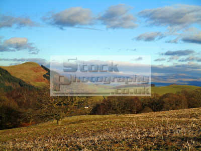 iron age hillfort left rounded lowther hills background bright winters day archeology archeological science misc. fort view vista scenic braes clouds sky green tree rural farming scotland scottish scotch scots escocia schottland united kingdom british