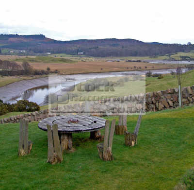 sited picnic place overlooks estuarine river urr meanders sea. countryside rural environmental uk view vista panorama estuary sea setting natural peaceful quiet relaxing dumfries galloway dumfrieshire dumfriesshire scotland scottish scotch scots escocia schottland united kingdom british
