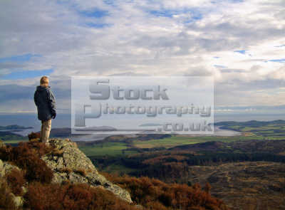 view screel hill dumfries galloway scotland balcary bay hestan island countryside rural environmental uk vista seascape height panorama stewartry walking hills mountain trees dumfrieshire dumfriesshire scottish scotch scots escocia schottland united kingdom british