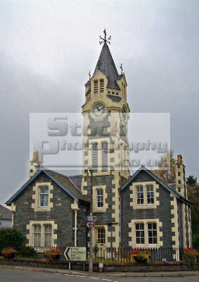 built mid nineteenth century 1865 clock tower dominates village moniaive dumfries ansd galloway. british clocktowers unusual buildings strange wierd uk galloway dumfrieshire dumfriesshire scotland scottish scotch scots escocia schottland united kingdom