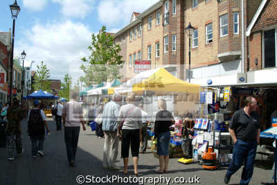 Staines Pedestrianised High Street With Market Stalls