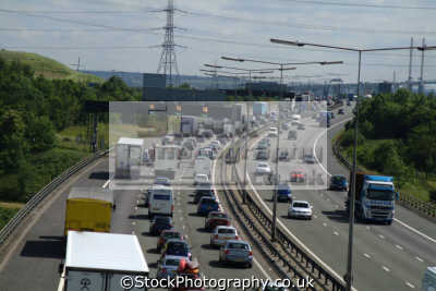 traffic jam approach dartford crossing m25 uk motorway highways roads motoring driving motor cars automobiles transport transportation london orbital essex england english angleterre inghilterra inglaterra united kingdom british