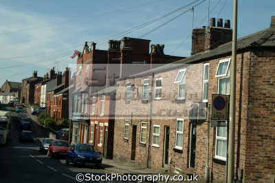 macclesfield typical residential street uk terraced houses british housing homes dwellings abode architecture architectural buildings cheshire england english angleterre inghilterra inglaterra united kingdom