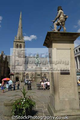 durham market place neptune statue north east england northeast english uk angleterre inghilterra inglaterra united kingdom british