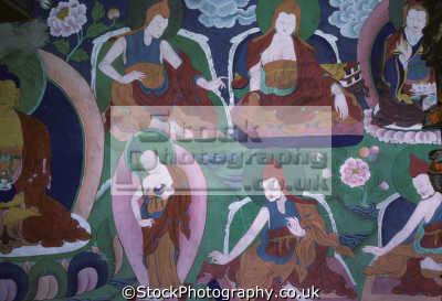 mural wall painting phyang gompa known fyang gouon monastery near leh ladakh india asia. 17km west leh-kargil leh kargil lehkargil road. belongs red cap sect buddhists. indian asian travel buddhism religion asia