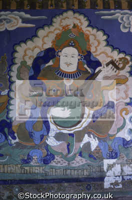 painting interior wall. thiksey monastery gompa south leh 600-years-old 600 years old 600yearsold 12 levels ascending hillside. contains 10 temples school. indian asian travel buddhism religion india asia