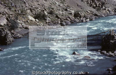 footbridge local rope fast-flowing fast flowing fastflowing gilgit river tributary indus near sher qila cross time northwest pakistan asia hindu kush pakistani asian travel