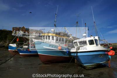 newquay fishing boats harbour low water harbor uk coastline coastal environmental cornish cornwall england english great britain united kingdom british