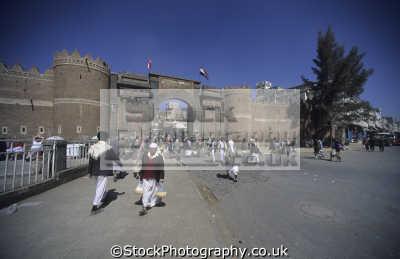 outside bab al-yemen al yemen alyemen southern gate old city walls sana republic yemen. middle east travel arabia yemen africa yemeni