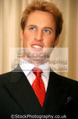 prince william waxwork model madame tussauds london england. royalty aristocracy celebrities celebrity fame famous star people persons costumes united kingdom british