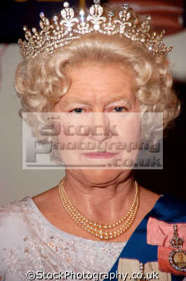 queen elizabeth waxwork model madame tussauds london england. royalty aristocracy celebrities celebrity fame famous star people persons costumes united kingdom british