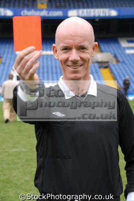 dermot gallagher english football premiership referee showing red card soccer sport sporting celebrities celebrity fame famous star people persons bald white caucasian portraits united kingdom british
