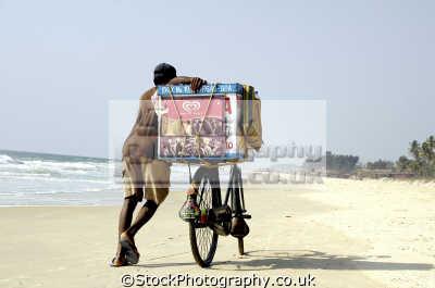 ice cream salesman beach goa india sightseeing indian asian travel bicycle asia