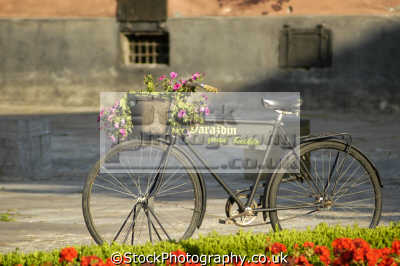 bicycle town square varazdin croatia. bicycles cycling cyclists bikes transport transportation uk europe european croatia croatian