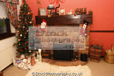 christmas morning indoors xmas yuletide misc. tree stocking presents united kingdom british