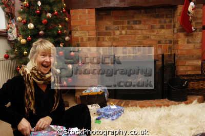 christmas morning opening presents xmas yuletide misc. joy happy united kingdom british