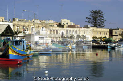 marsaxlokk harbour malta. fishing boats marine misc. harbor malta maltese europe european