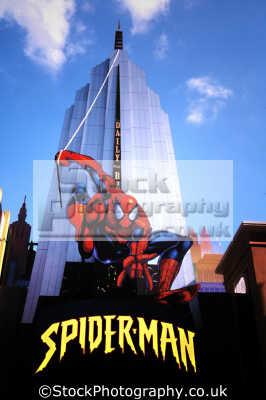 facade spiderman florida theme park. cartoon arts misc. superhero usa united states america american