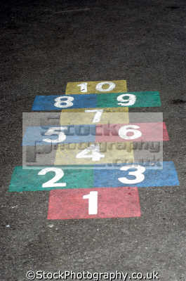 hopscotch patter school playground sports sporting uk childrens games skip united kingdom british